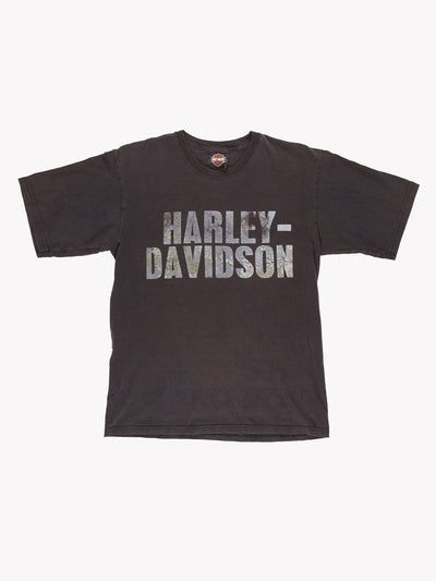 Harley Davidson T-Shirt Grey/Green Size Small