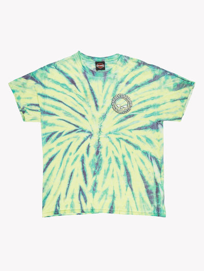Harley Davidson Tie-Dye T-Shirt Green/Purple Size Large