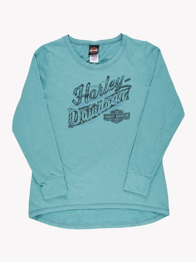 Harley Davidson Long Sleeve T-Shirt Blue/Black Size Large