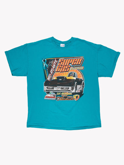 Super Gas Racing T-Shirt Blue/Orange/Black Size Large