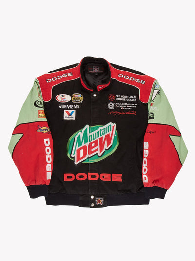 Nascar Mountain Dew Jacket Black/Red/Green Size Large