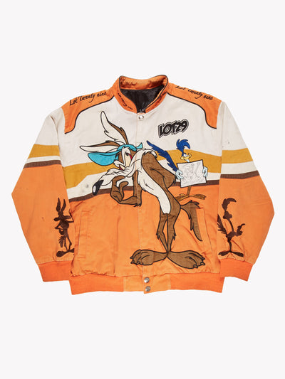 Nascar Looney Tunes Wile E. Coyote Jacket Orange/White/Brown Size XL