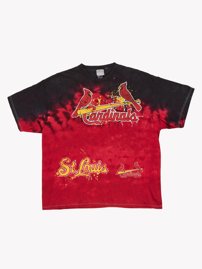 St Louis Cardinals MLB Tie Dye T-Shirt Red/Black/Yellow Size XL