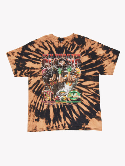Bleach Effect American Football T-Shirt Brown/Black Size Large