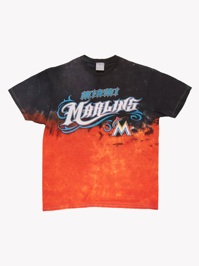 Miami Marlins MLB Tie Dye T-Shirt Orange/Black Size Large