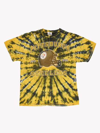Pittsburgh Steelers NFL Tie Dye T-Shirt Yellow/Green Size Medium