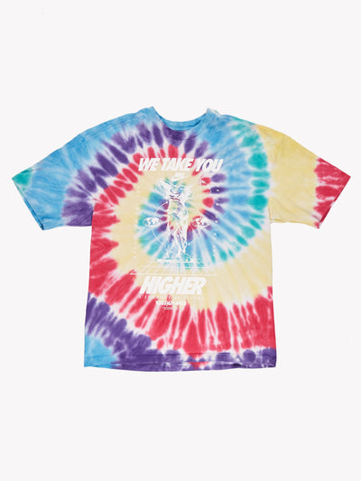 Nike Tie Dye Slogan T-Shirt Blue/Yellow/Pink Size Small