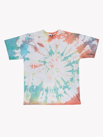 Russell Athletic Tie Dye T-Shirt Green/Pink Size XL