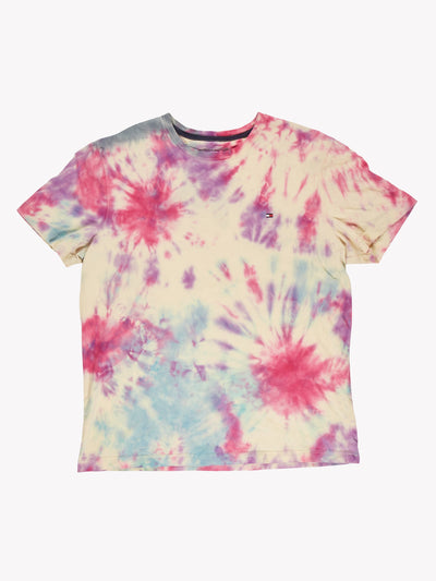 Tommy Hilfiger Tie Dye T-Shirt Yellow/Pink/Blue Size Large