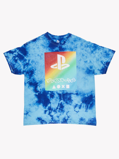 Playstation Tie Dye T-Shirt Blue/Red/Green Size Large