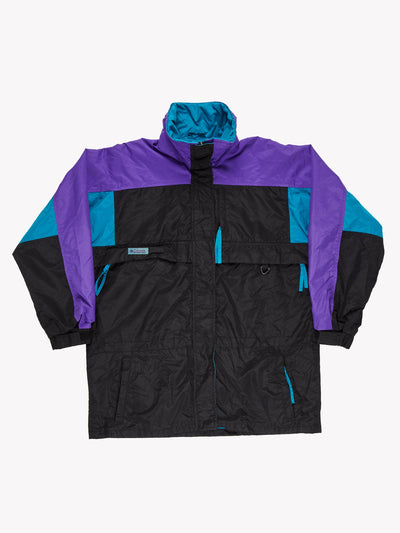 Columbia Womens Jacket Black/Blue/Purple Size Large