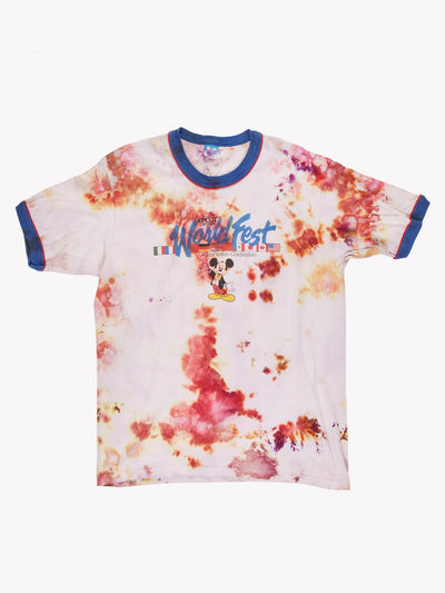 Disney Tie Dye Ringer T-Shirt Pink/White/Blue Size Medium