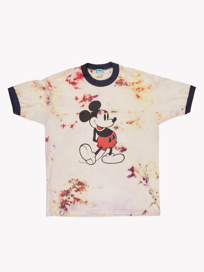 Mickey Mouse Tie Dye Ringer T-Shirt Cream/Purple/Yellow Size Medium