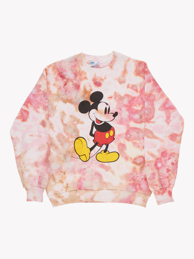 Mickey Mouse Tie Dye Sweatshirt Pink/Orange/White Size Small
