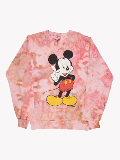 Mickey Mouse Tie Dye Sweatshirt Pink/Orange/Black Size Small