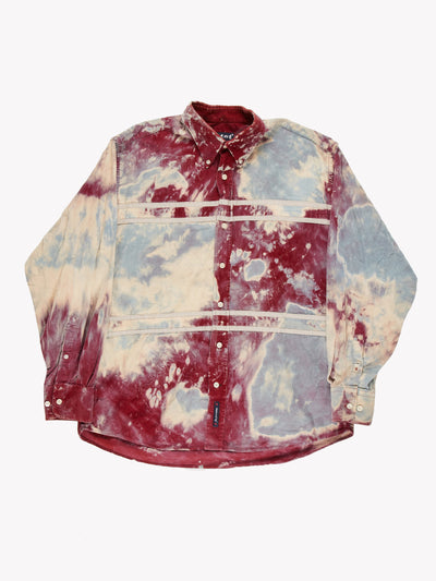 Tie Dye Fine Cord Shirt Blue/Red/Cream Size Large