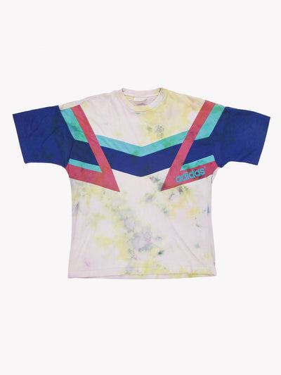Adidas Tie Dye T-Shirt White/Yellow/Blue Size Adidas
