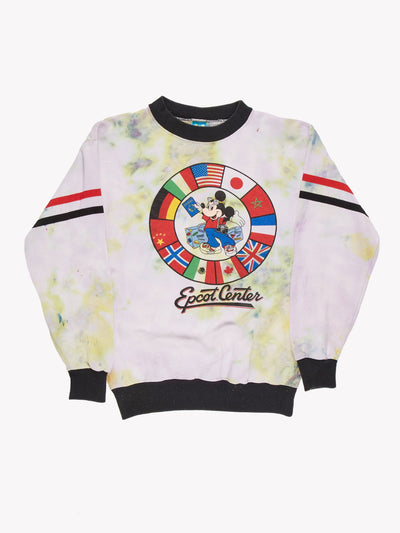 Mickey Mouse Epcot Centre Tie Dye Sweatshirt White/Green/Black Size Medium