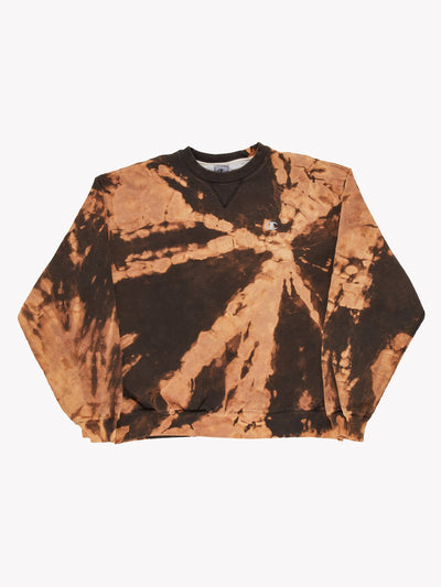 Champion Bleach Effect Sweatshirt Orange/Brown Size XL