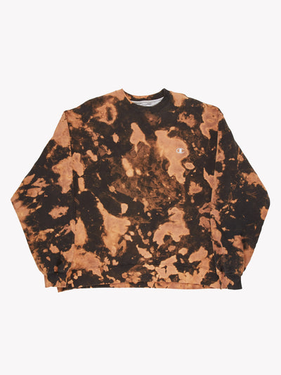Champion Bleach Effect Sweatshirt Orange/Brown Size XXL