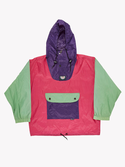 K-Way 1/4 Zip Pack Away Mac Pink/Green/Purple Size Large