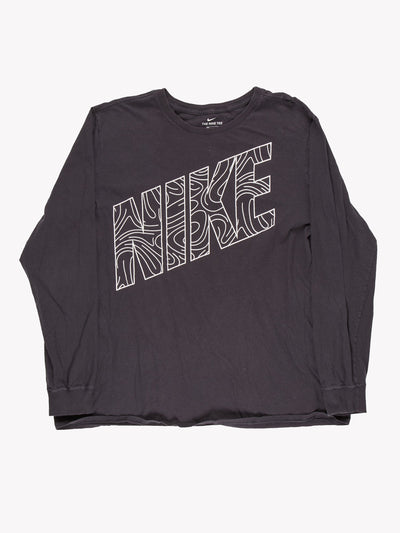 Nike Long Sleeve T-Shirt Grey/White Size XXL