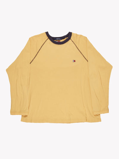 Tommy Hilfiger Long Sleeve T-Shirt Yellow/Blue Size XL