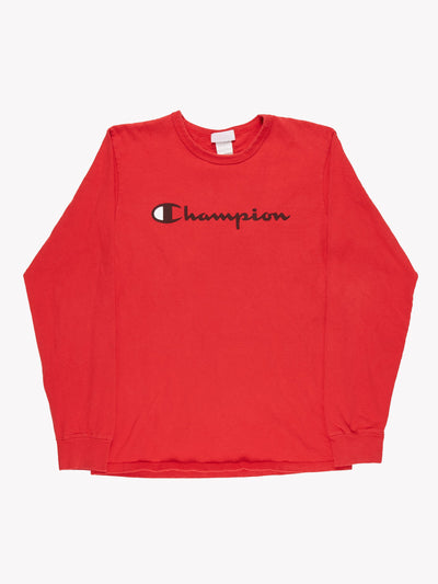 Champion Long Sleeve T-Shirt Red/Black Size Medium