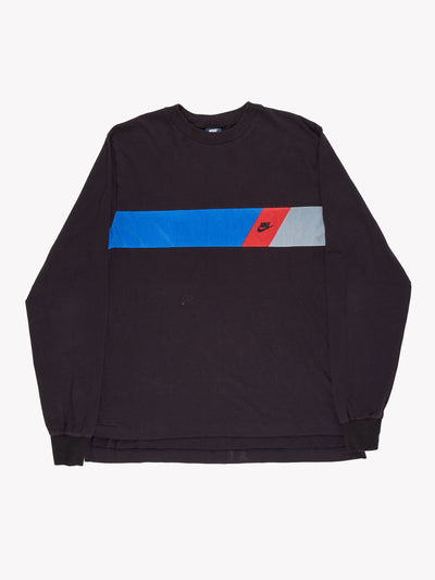 Nike Long Sleeve T-Shirt Black/Blue/Red Size XL
