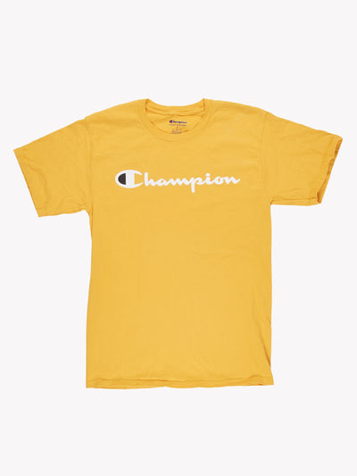 Champion T-Shirt Yellow/White Size Small