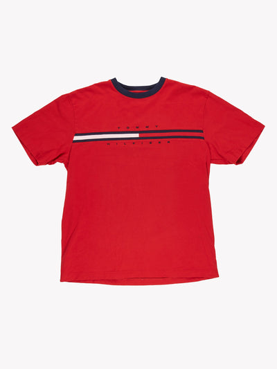 Tommy Hilfiger T-Shirt Red/Blue/White Size Large