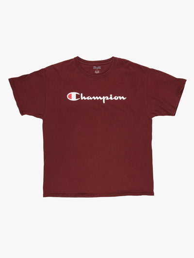 Champion T-Shirt Burgundy/White Size Large