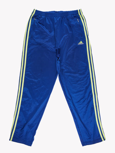 Adidas Popper Tracksuit Bottoms Blue/Yellow Size Large