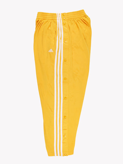 Adidas Crop Popper Tracksuit Bottoms Yellow/White Size Medium