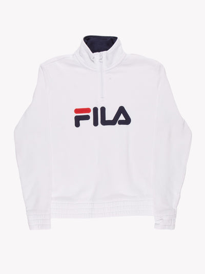 Fila 1/4 Zip Sweatshirt White/Blue/Red Size Small