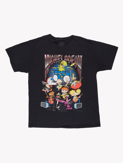 90's Nickelodeon Character T-Shirt Black/Blue/Red Size Large