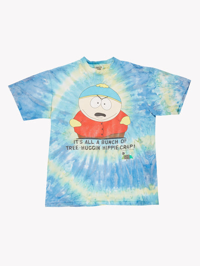 1997 South Park Tie Dye Slogan T-Shirt Blue/Green/Red Size Large