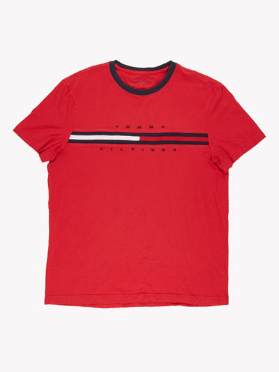 Tommy Hilfiger T-Shirt Red/Blue/White Size Medium