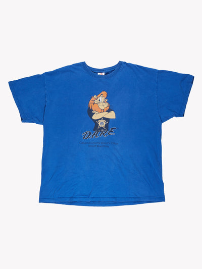 D.A.R.E. Daren the Lion T-Shirt Blue/Black/Orange Size XL