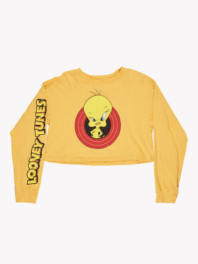 Tweety Pie Long Sleeve Crop T-Shirt Yellow/Red Size Small