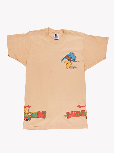 Bart Simpson Dr Dude T-Shirt Peach/Red/Blue Size XS