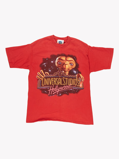 90's Universal Studios Hollywood E.T. T-Shirt Red/Pink/Brown Size Small