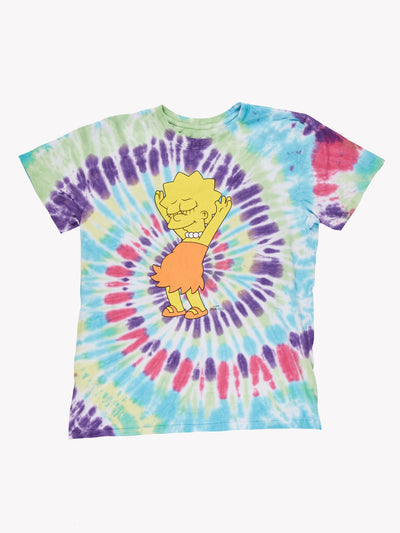 Lisa Simpson Tie-Dye T-Shirt Yellow/Blue/Pink Size Large