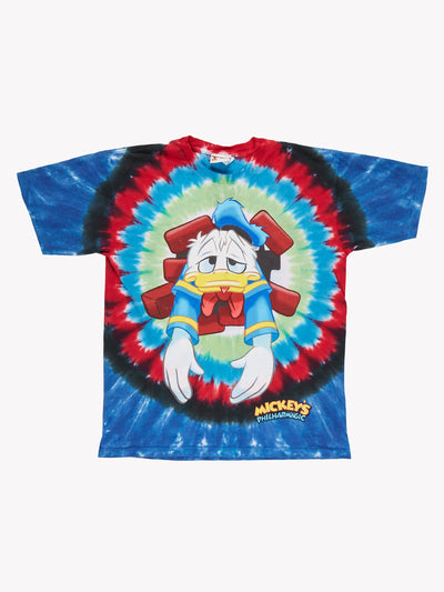 Donald Duck Tie-Dye T-Shirt Blue/Yellow/Red Size Large