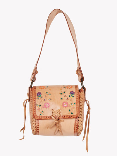 Leather Floral Box Bag Brown/Pink One Size