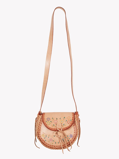 Leather Floral Cross Body Bag Brown/Pink One Size