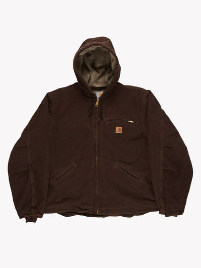 Carhartt Jacket with Fleece Lining Brown Size XL