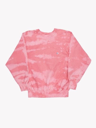 Champion Bleach Effect Sweatshirt Pink Sweatshirt Size XL