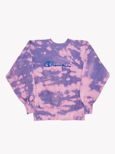 Champion Bleach Effect Sweatshirt Purple/Pink Size Large