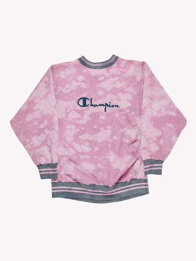Champion Bleach Effect Sweatshirt Pink/Green Size Large
